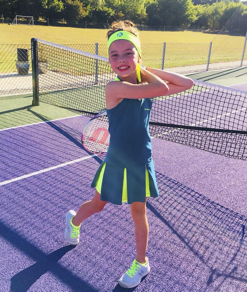 tennis dress girls Petra neon teal petrol Zoe Alexander uk za