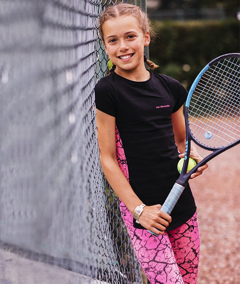 tennis leggings top t-shirt Jessica neon pink
