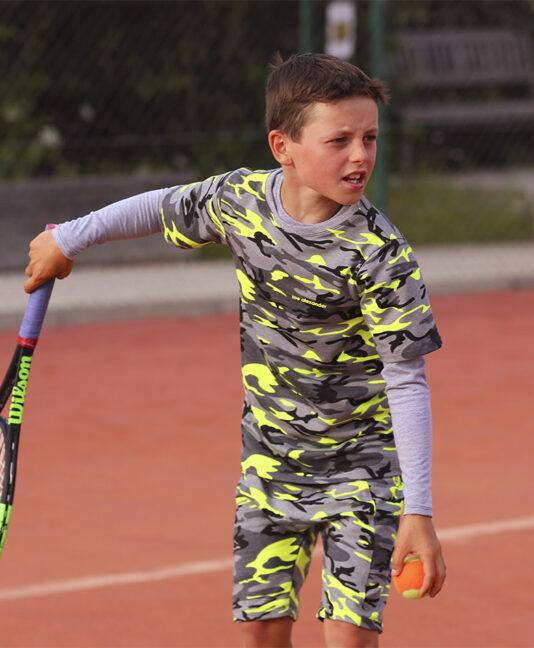 boys tennis long sleeve top camo neon
