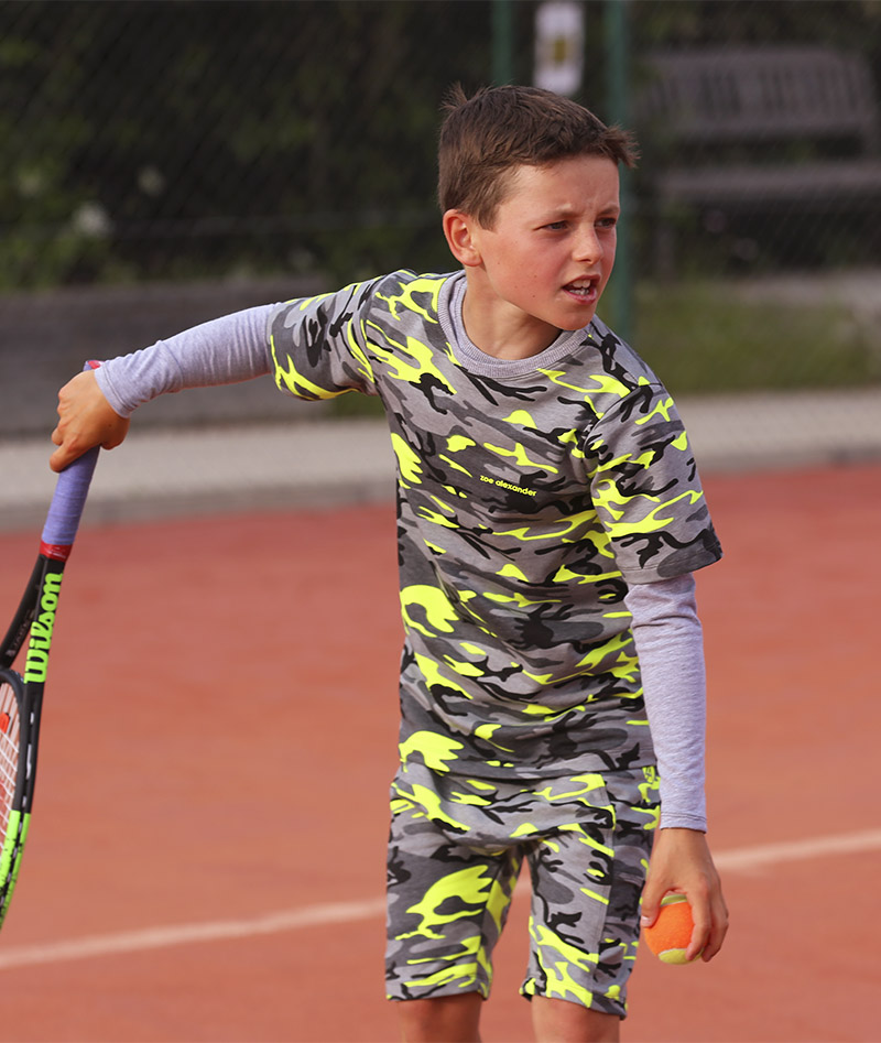 boys tennis long sleeve top camo neon
