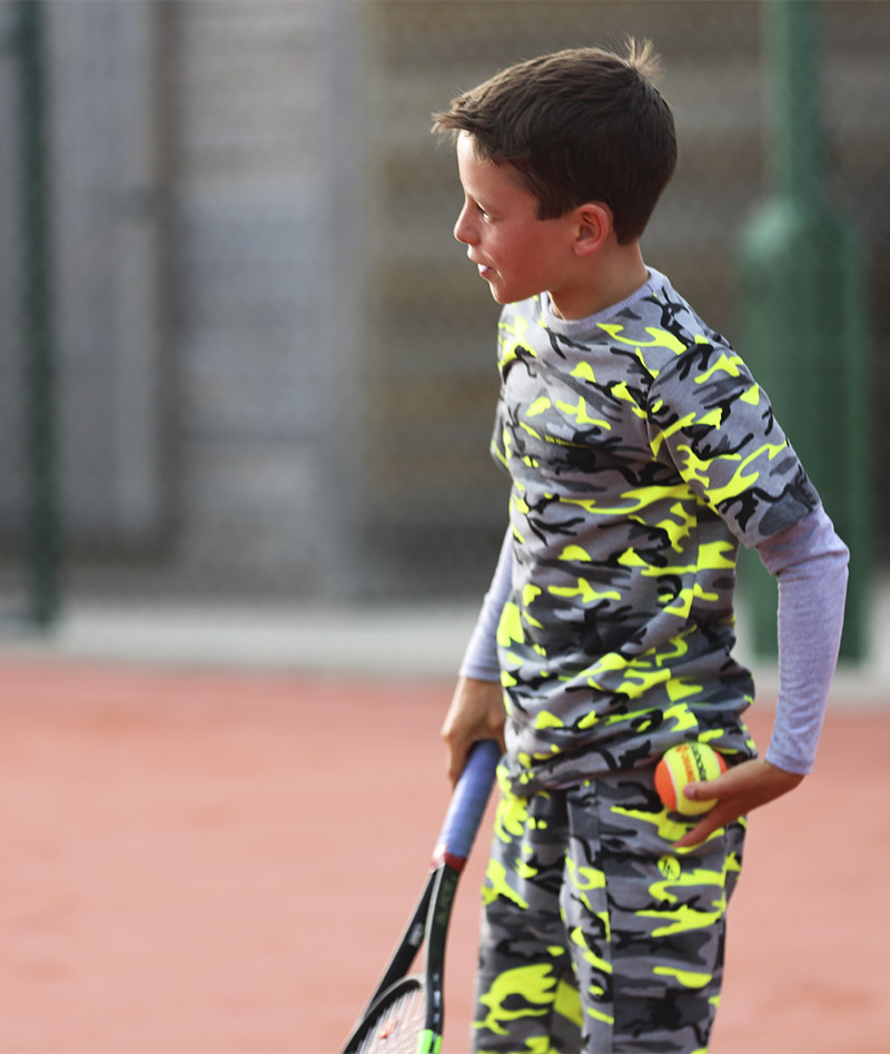 neon camo tennis shorts for boys by zoe alexander