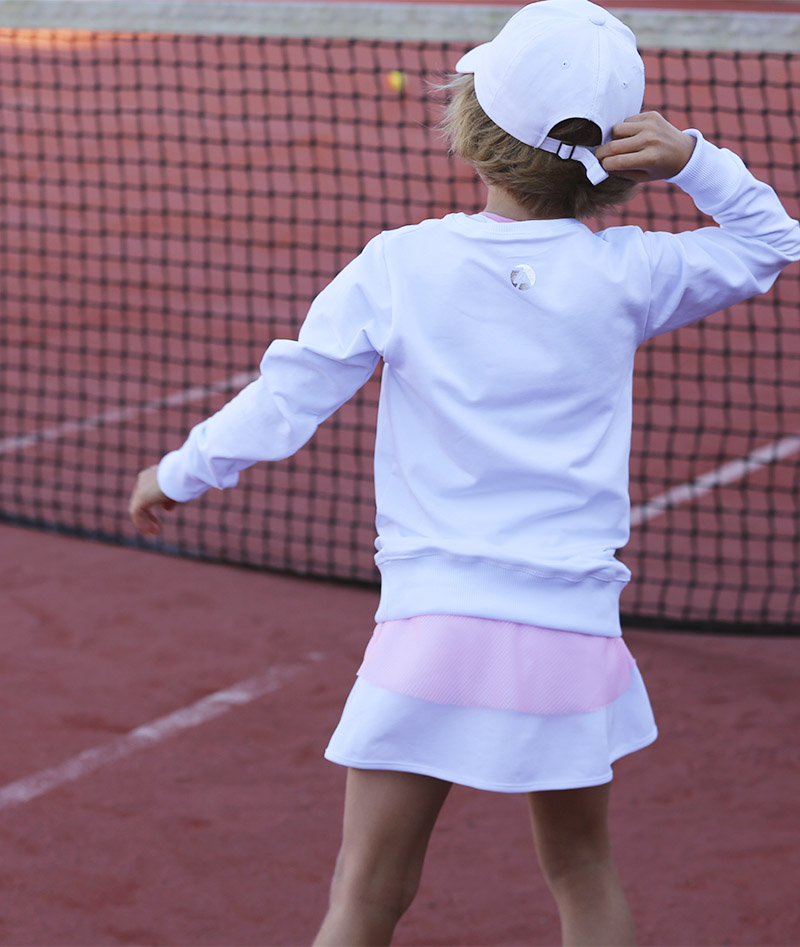 white tennis long sleeve top girls zoe alexander uk