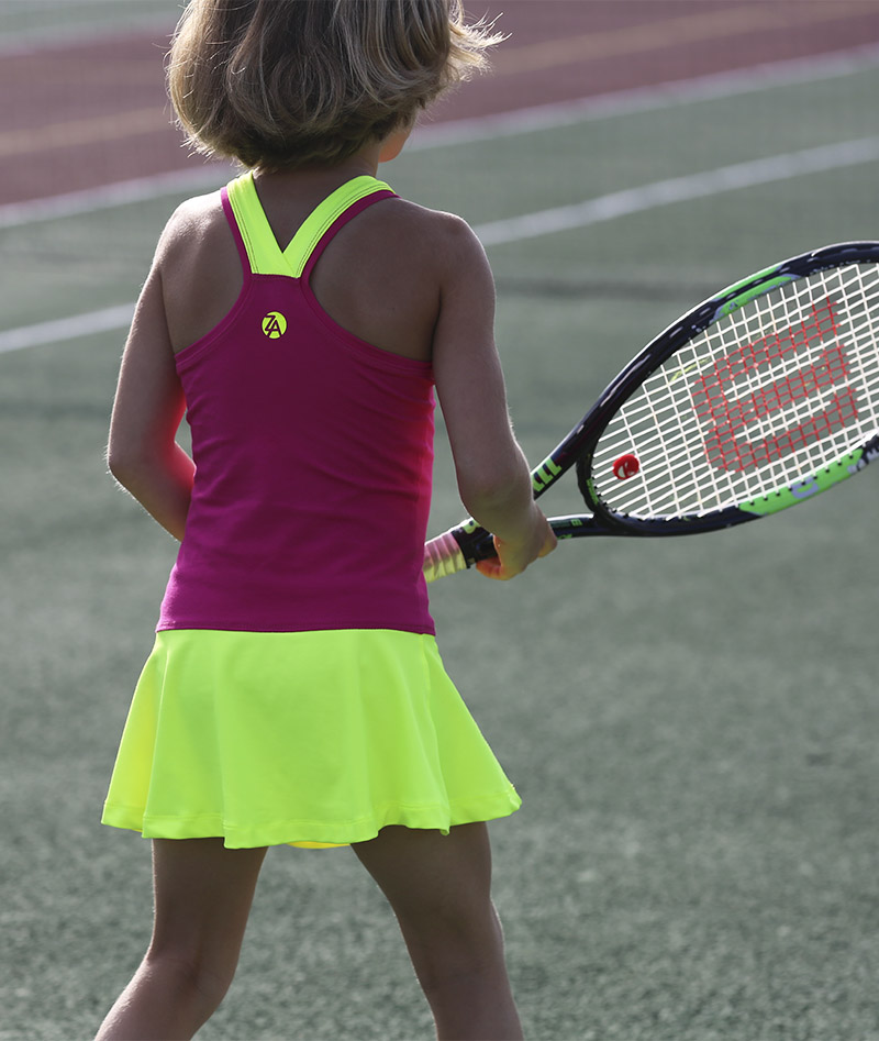 neon pink fuchsia girls tennis dress racerback zoe alexander uk