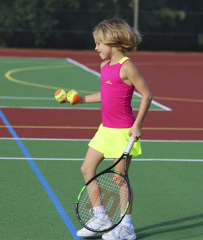 pink neon racerback tennis dress girls zoe alexander jessica