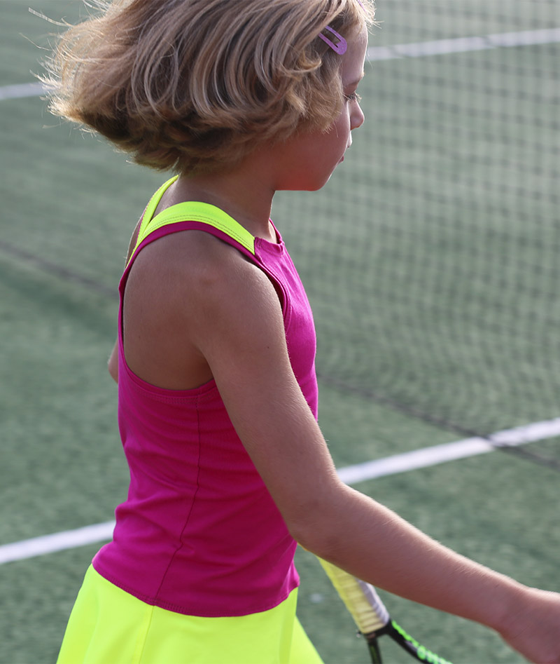 pink neon tennis dress racerback zoe alexander uk