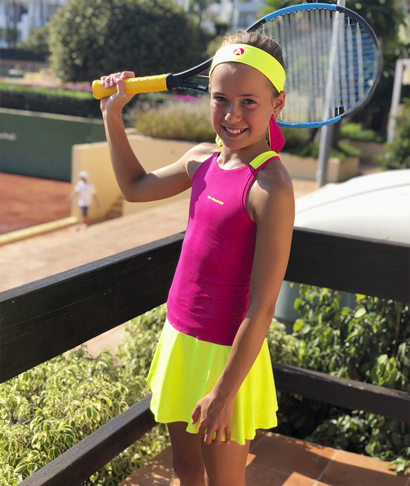 neon pink tennis dress racerback for girls zoe alexander uk