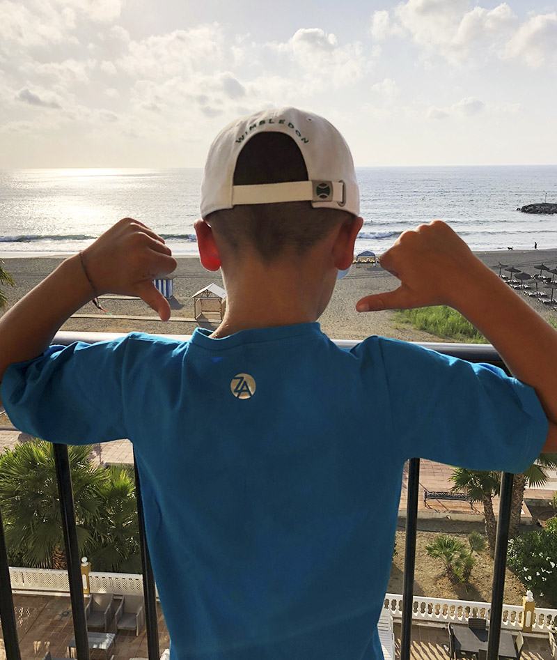 boys tennis shorts t-shirt white blue Zoe Alexander uk za Spain