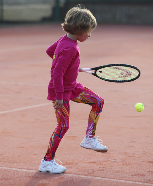 pink print tennis leggings for girls Simona Zoe Alexander