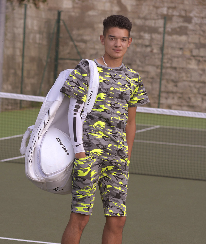neon camouflage boys tennis outfits shorts and top zoe alexander