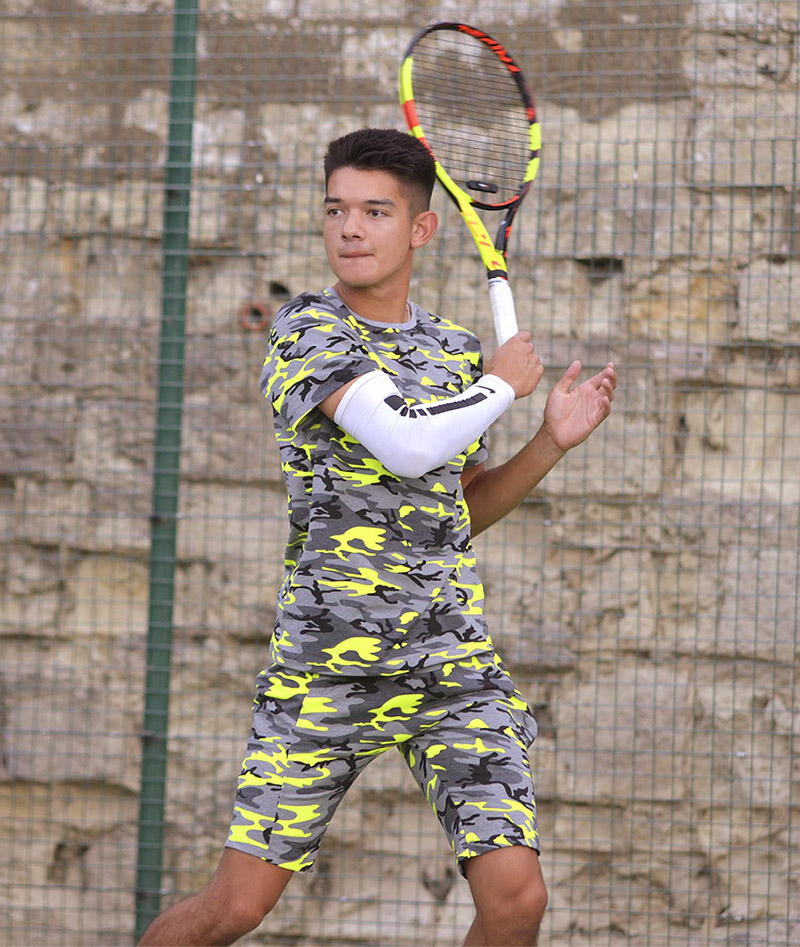 neon camo shorts and sweatshirt tennis top for boys zoe alexander