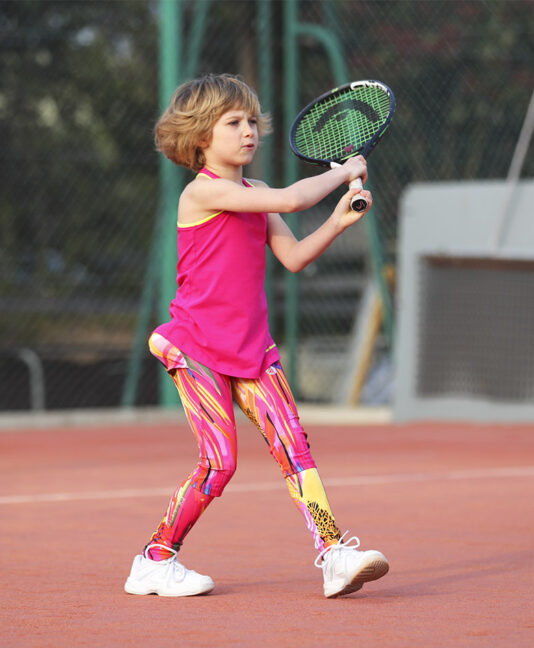 Simon pink tennis leggings for girls