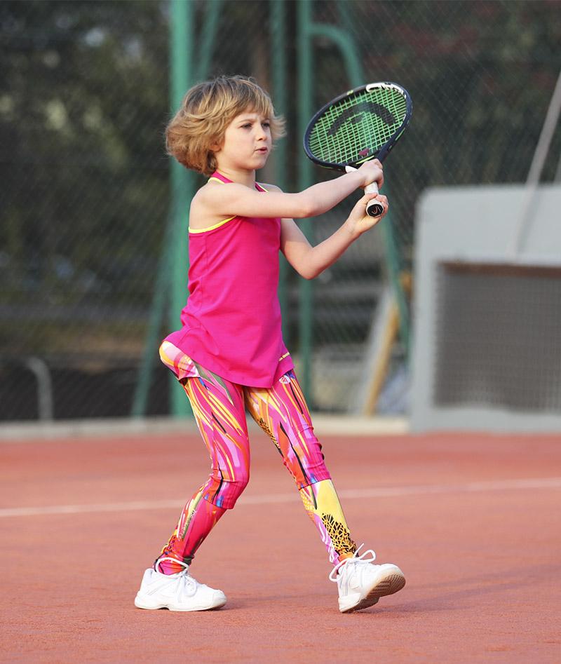 Simon pink tennis leggings for girls