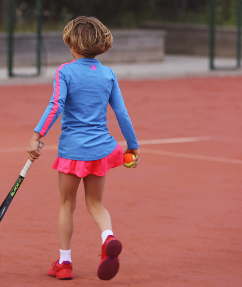 blue and pink striped tennis top zoe alexander gigina