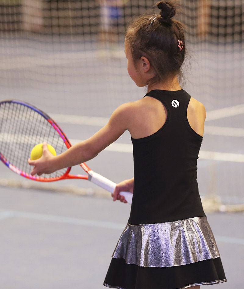 black racerback girls tennis dress zoe alexander
