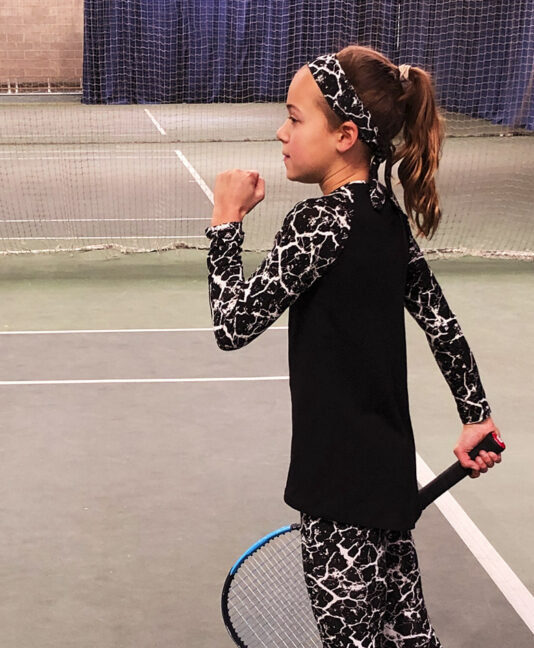 black white print tennis raglan sleeve top for girls zoe alexander