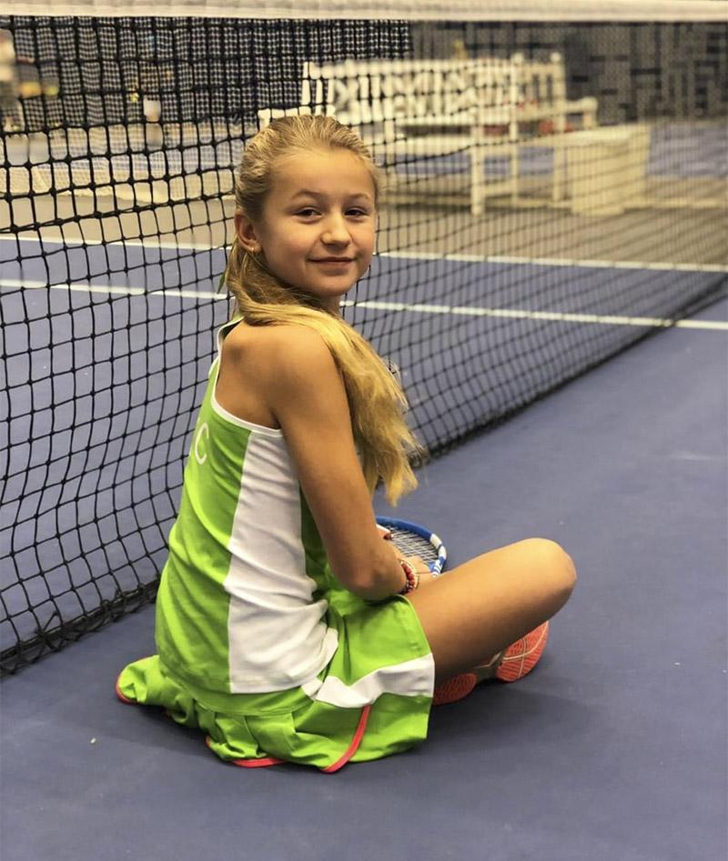 kaia green tennis outfit zoe alexander