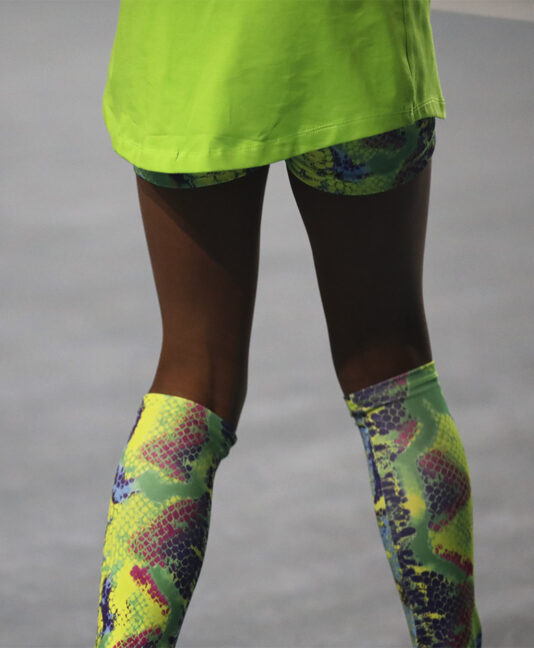 girls tennis calf warmers Zoe Alexander snakeskin
