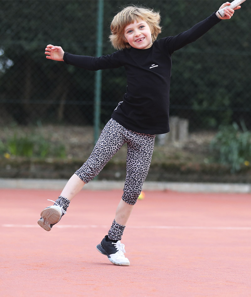 cropped tennis leggings for girls Zoe Alexander leopard print