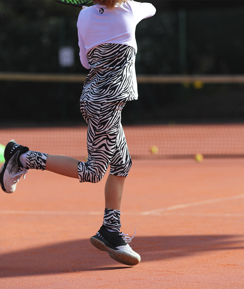 girls cropped tennis leggings zebra by zoe alexander