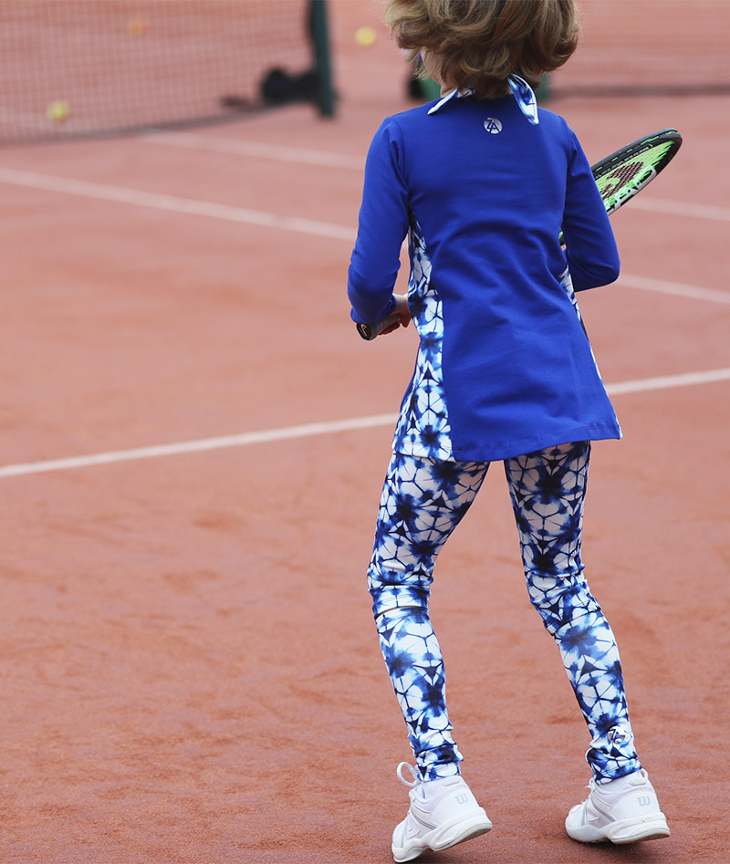 blue print tennis leggings Zoe Alexander hex