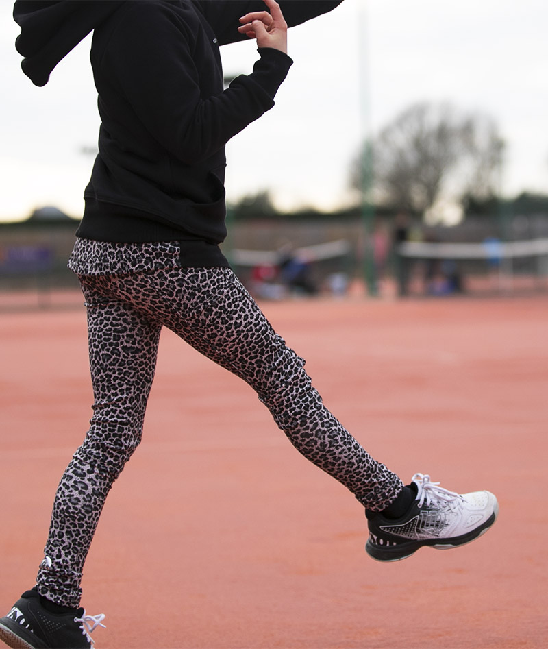 girls long pants tennis leopard animal print Zoe Alexander