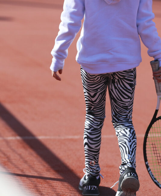 zebra tennis leggings ball pocket zoe alexander