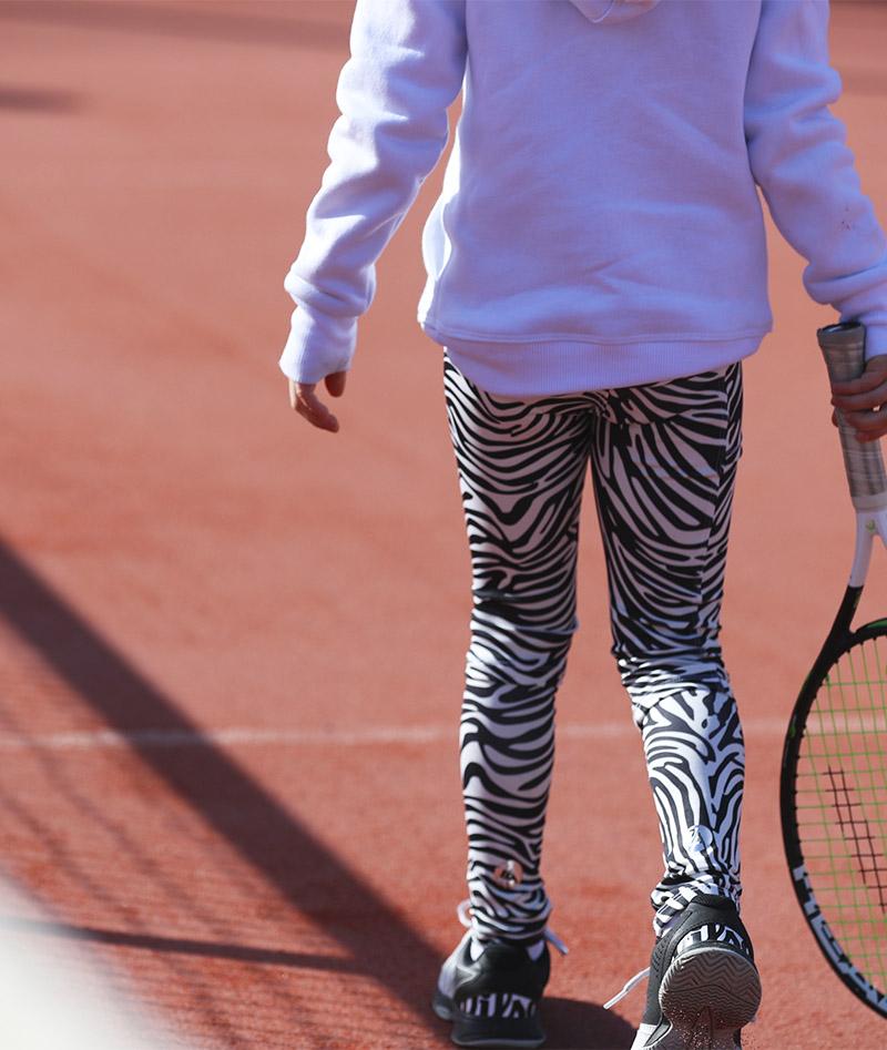 zebra tennis leggings ball pocket zoe alexander