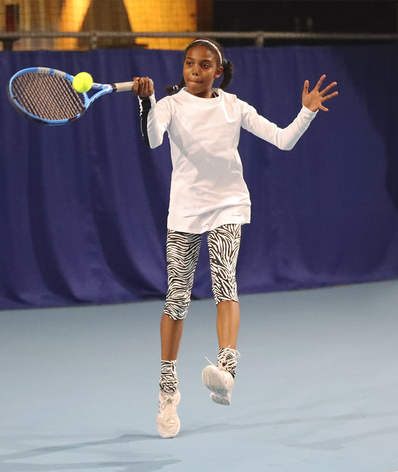 girls white tennis top long sleeve Bianca Zoe Alexander