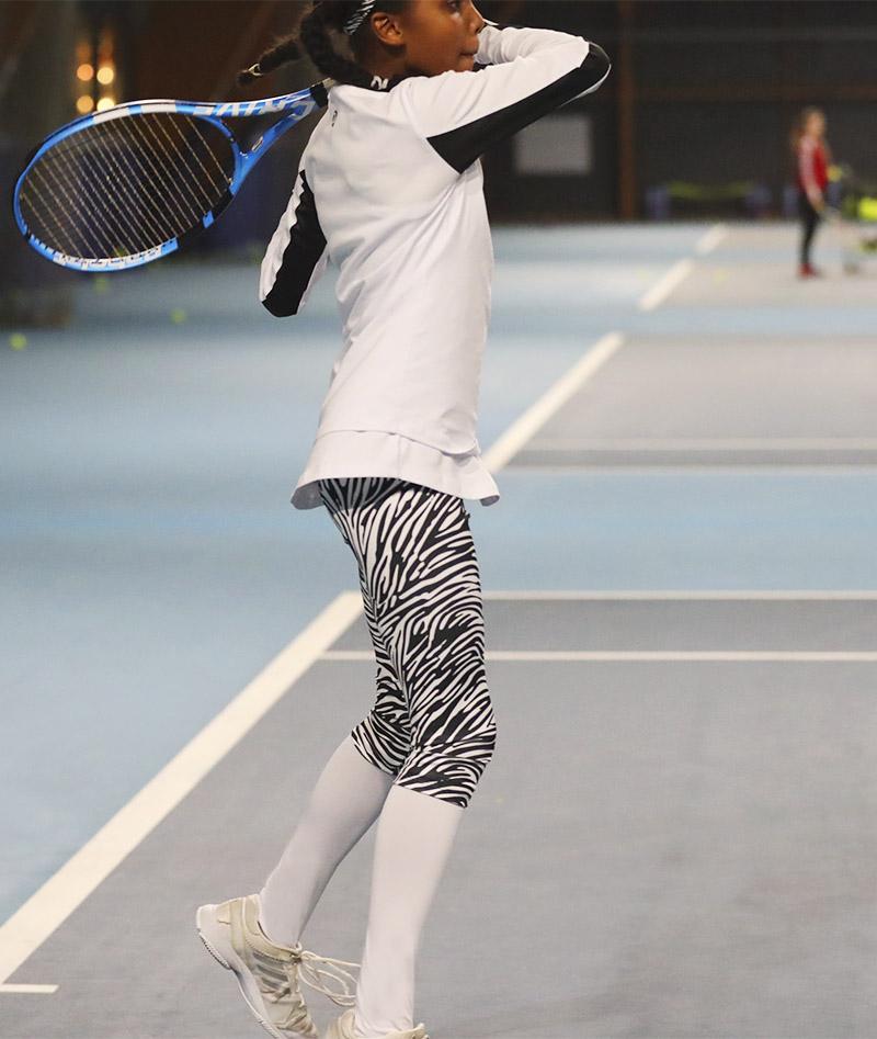 zebra cropped leggings girls white tennis top long sleeve Bianca Zoe Alexander
