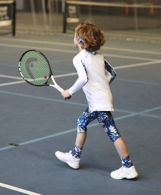 blue vipa cropped tennis leggings for girls Zoe Alexander