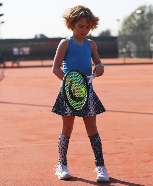 aqua blue and snakeskin tennis dress for girls Zoe Alexander