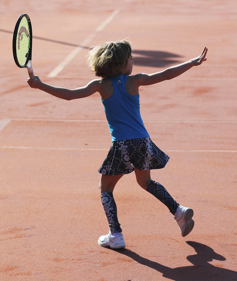 blue snakeskin tennis dress Zoe Alexander