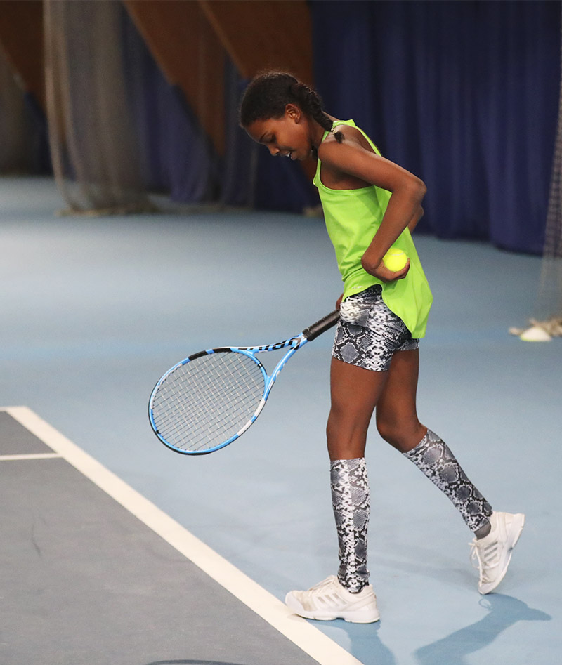 green tennis vest girls black snakeskin tennis hot pants shorts with ball pocket Zoe Alexander