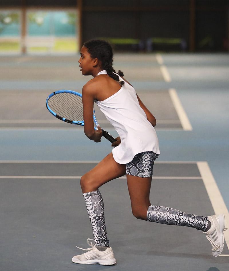 black snakeskin tennis shorts with ball pocket girls Zoe Alexander