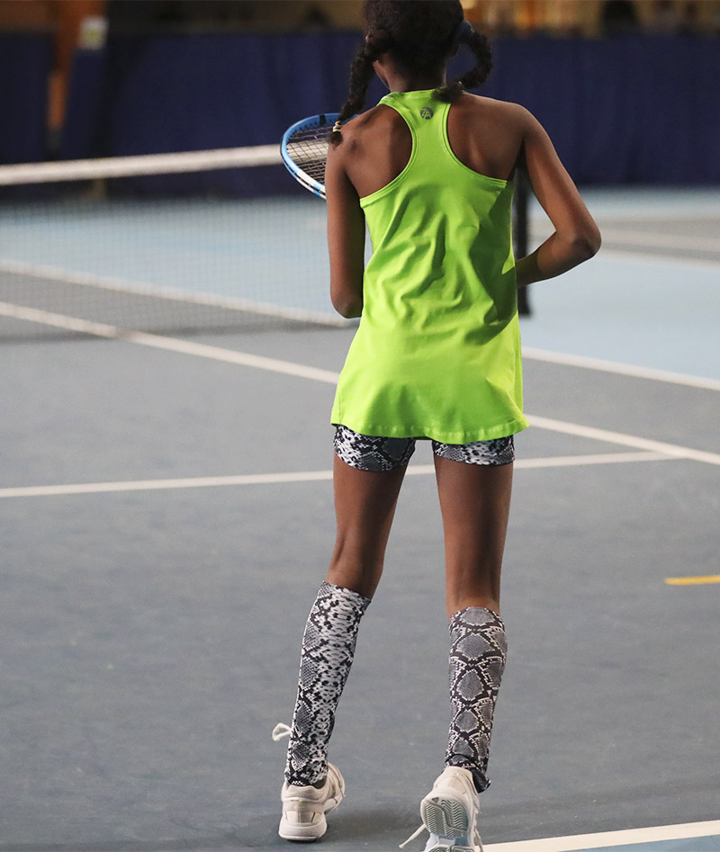 green tennis tank top black snakeskin tennis shorts with ball pocket girls Zoe Alexander