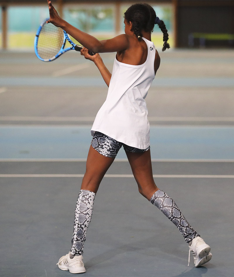 black snakeskin tennis shorts with ball pocket girls Zoe Alexander