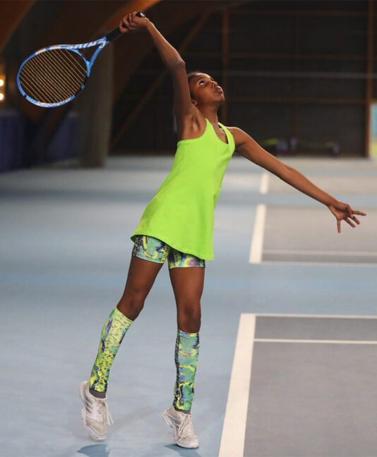 green tennis tank top snakeskin tennis shorts Zoe Alexander