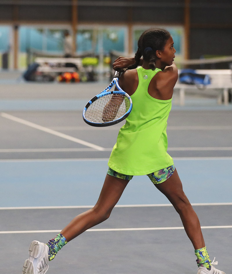 green tennis top girls snakeskin tennis shorts Zoe Alexander