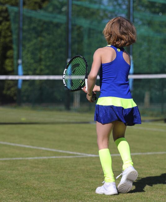 blue girls tennis dress zoe alexander racerback