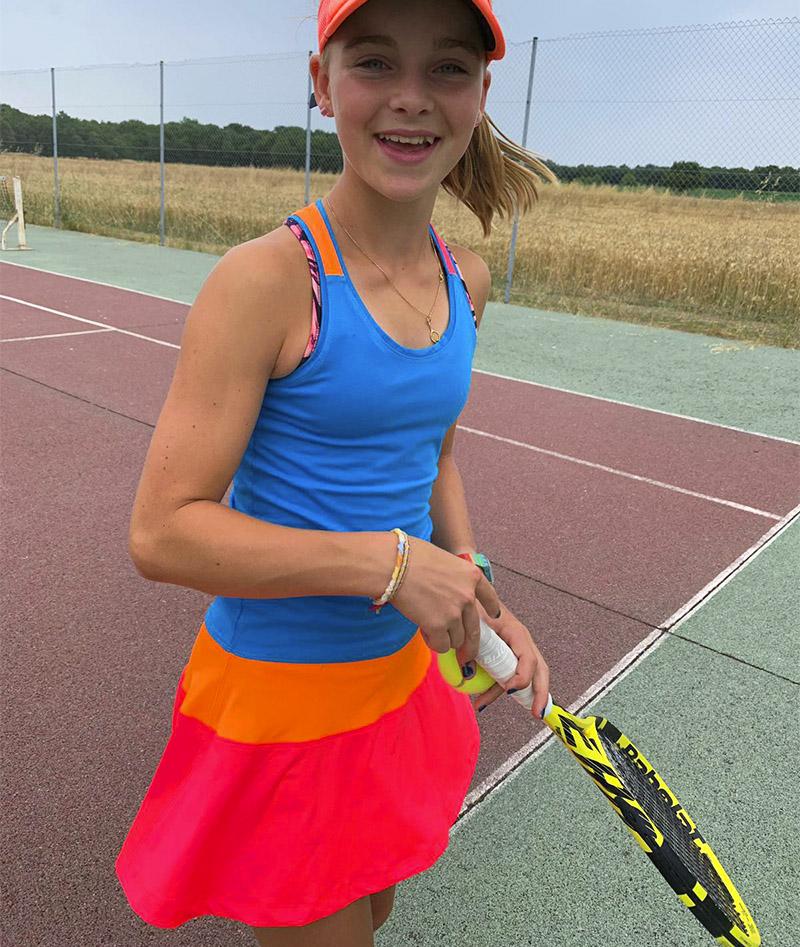 chloe blue neon girls tennis dress zoe alexander uk