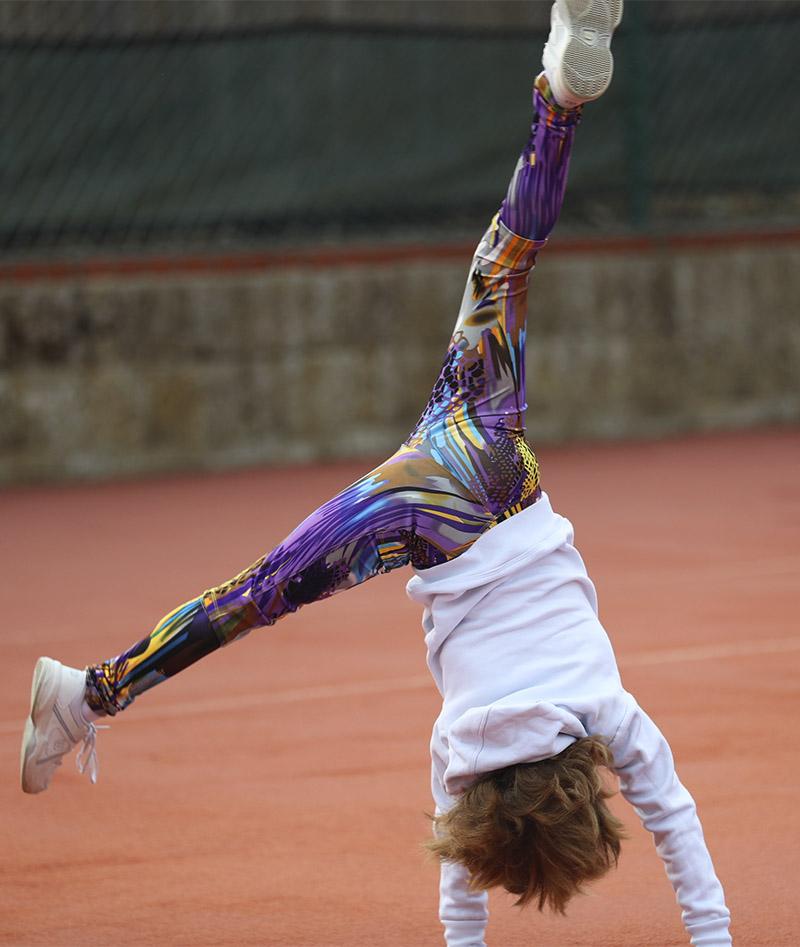vivid violet long tennis leggings girls VIVIANA zoe alexander uk