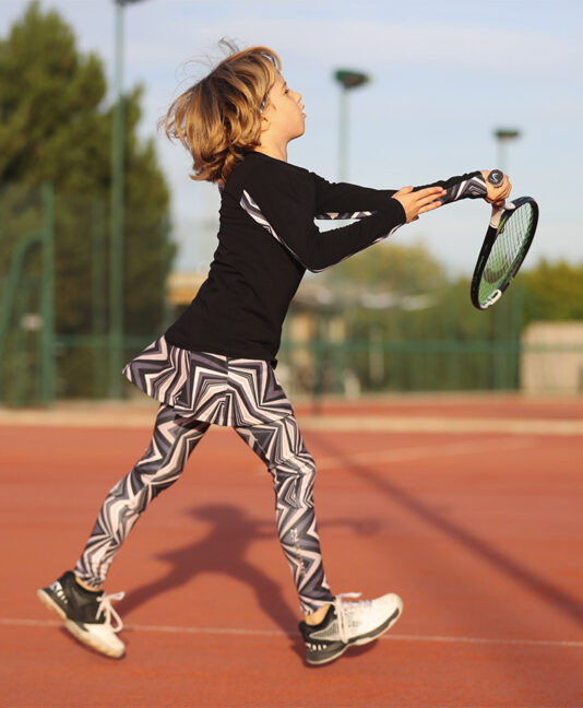 zigzag black tennis training top for girls zoe alexander