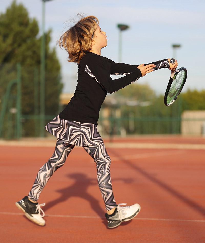 zigzag black tennis training top for girls zoe alexander