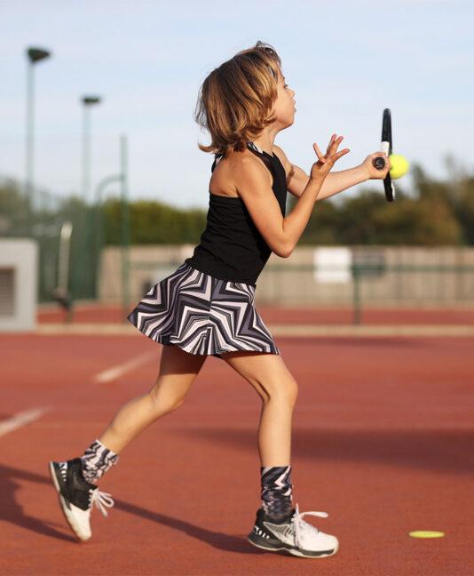 zigzag girls tennis dress zoe alexander monochrome print