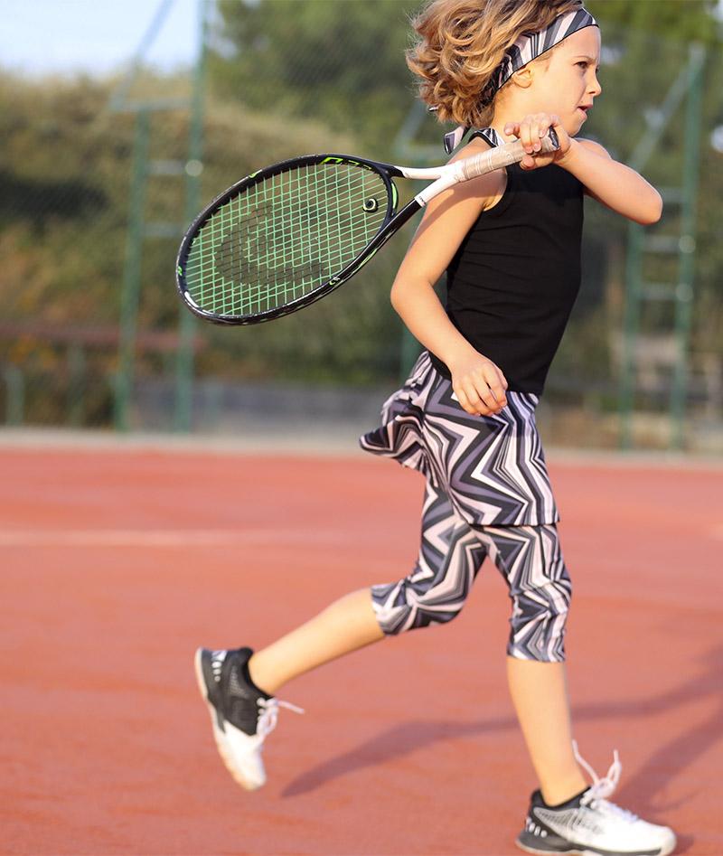 zigzag girls tennis cropped leggings zoe alexander monochrome print