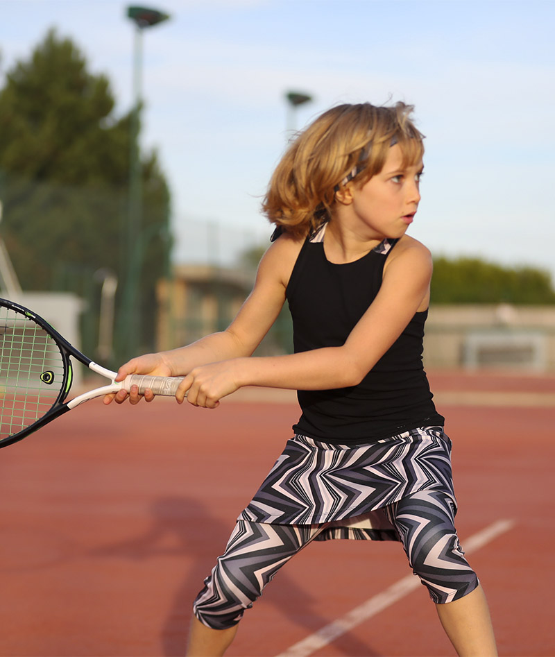 zigzag girls tennis crop leggings zoe alexander monochrome print