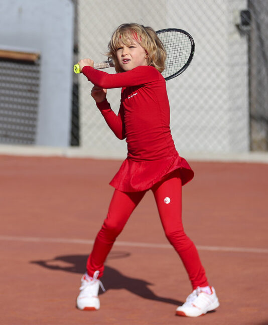 girls red tennis leggings with ball pocket fleece lined zoe alexander uk
