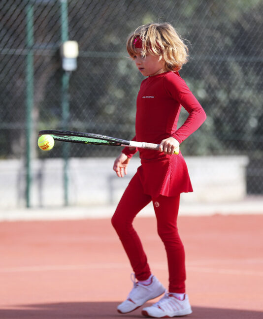 girls red tennis performance leggings with ball pocket fleece lined zoe alexander uk
