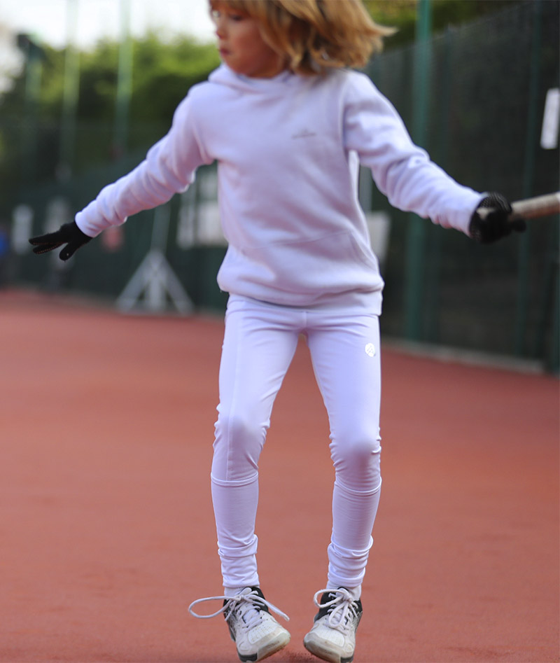 girls white tennis leggings fleece lined winter performance ball pocket zoe alexander uk