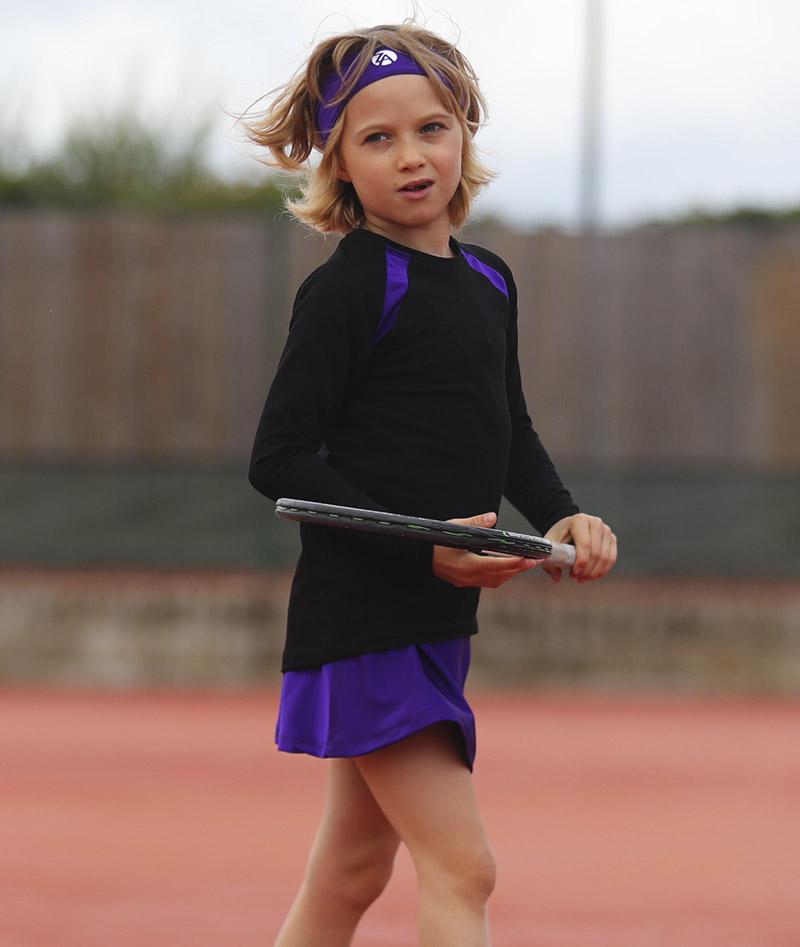 girls tennis top raglan sleeve rafaela black violet purple zoe alexander training tops